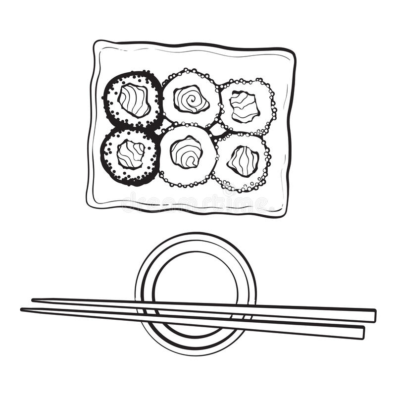 Plate of Japanese sushi, rolls, chosticks and soy sauce bowl stock illustration