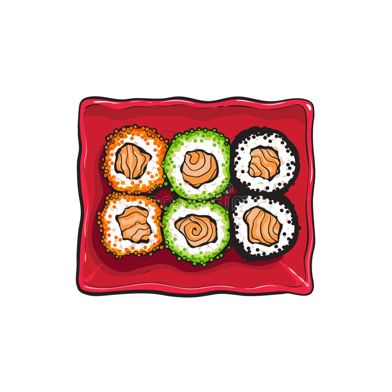 Plate of Japanese sushi, rolls, sketch style vector illustration royalty free illustration