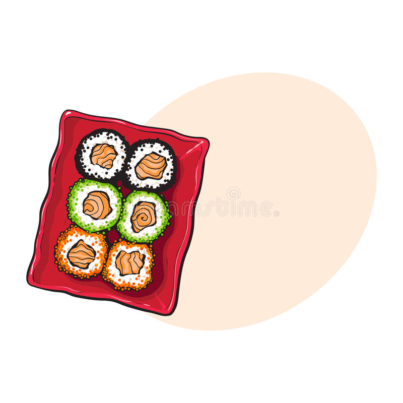 Plate of Japanese sushi, rolls, sketch style vector illustration vector illustration