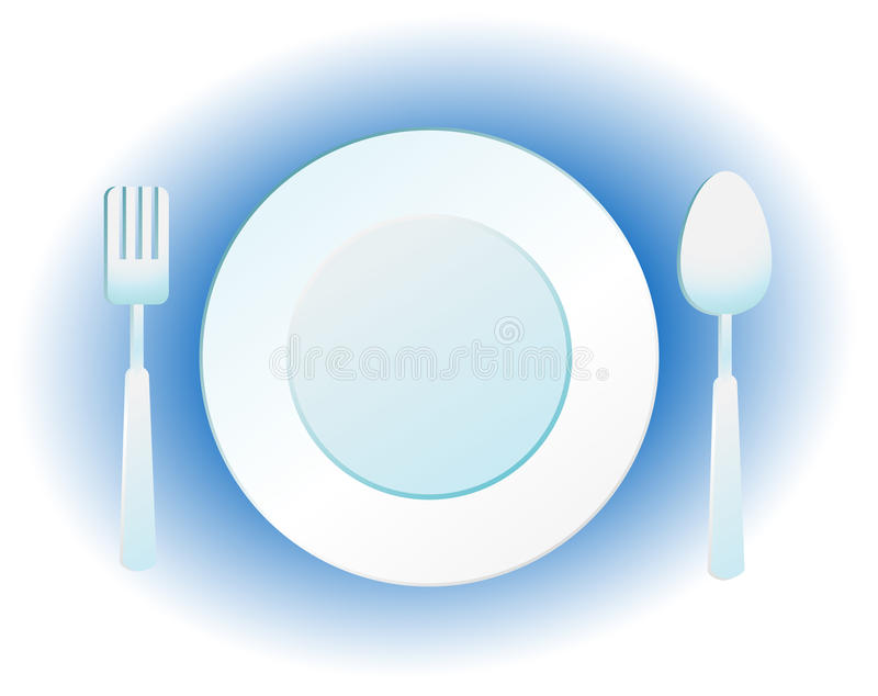 Download Plate, knife and fork stock vector. Image of ceramics - 17228003
