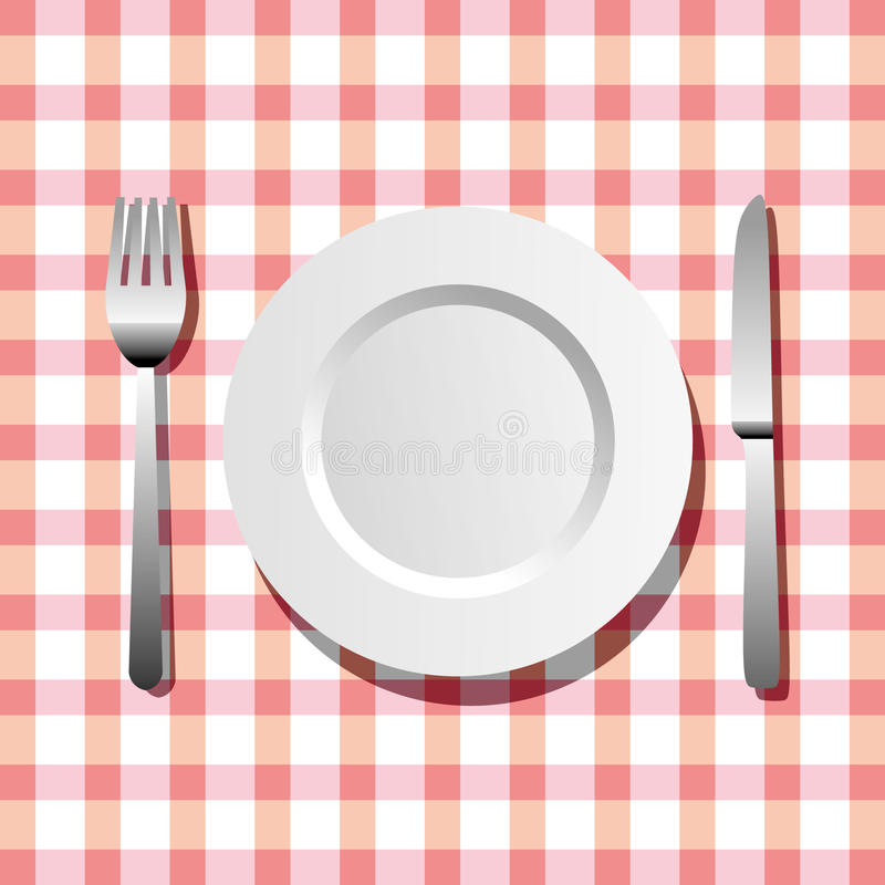 Plate, knife and fork royalty free illustration
