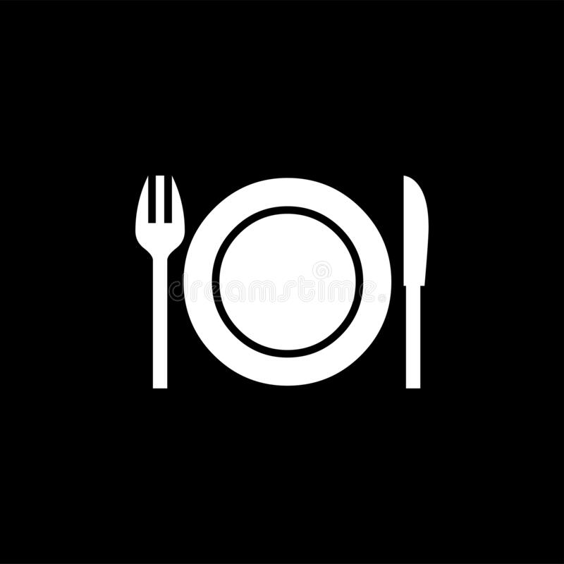Plate with Knife & Fork Icon On Black Background. Black Flat Style Vector Illustration royalty free illustration