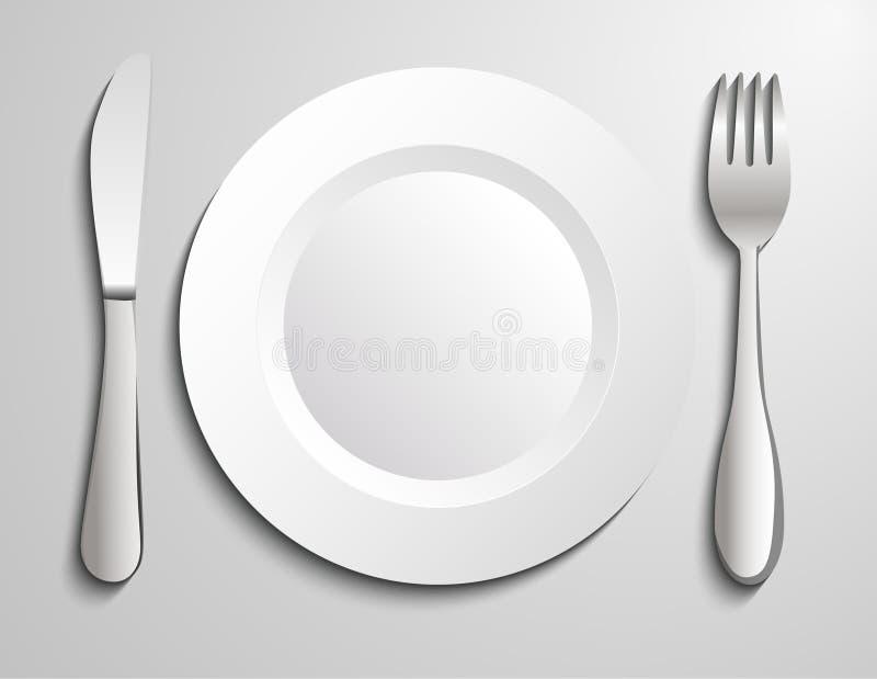 Plate knife and fork. Illustration background vector illustration