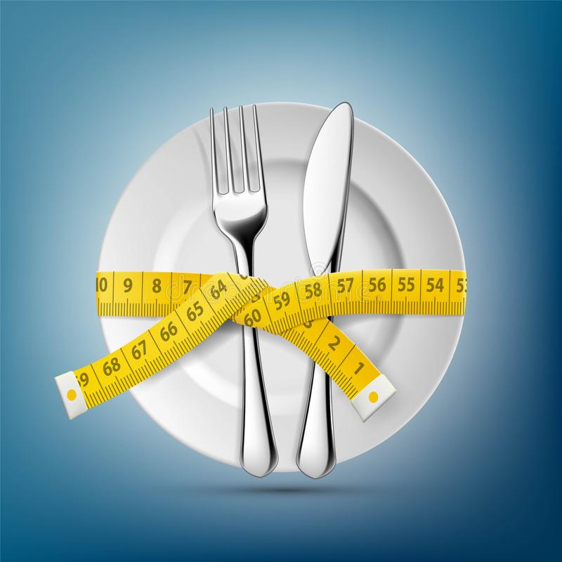 Plate with knife, fork and tailoring centimeter. Dieting and wei stock illustration