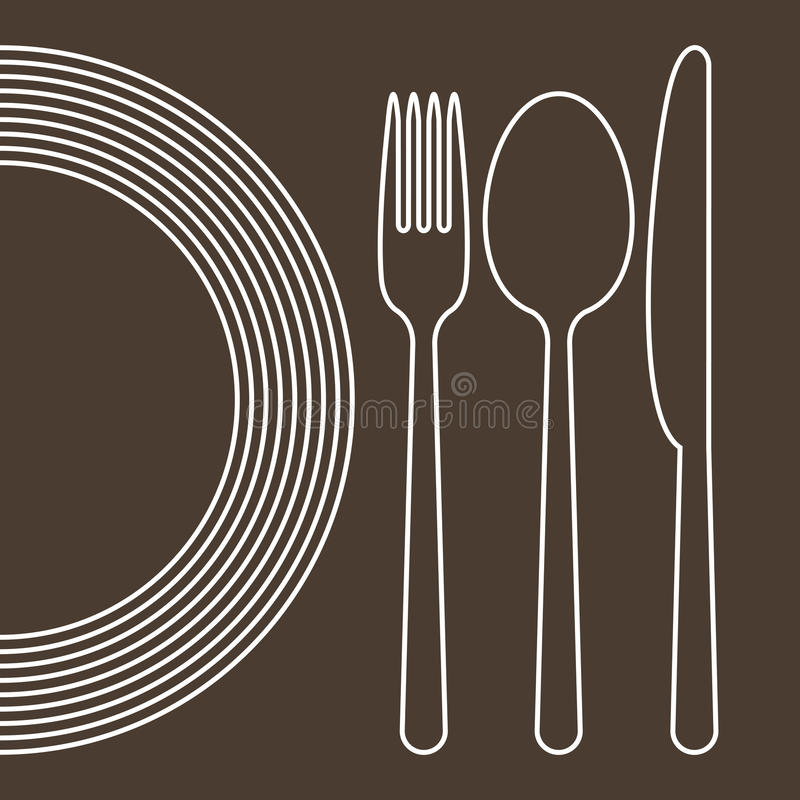 Plate, knife, spoon and fork stock illustration