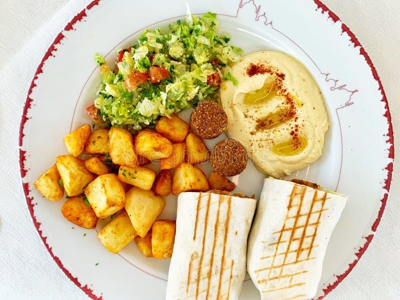 Plate of Lebanese cuisine food stock photos