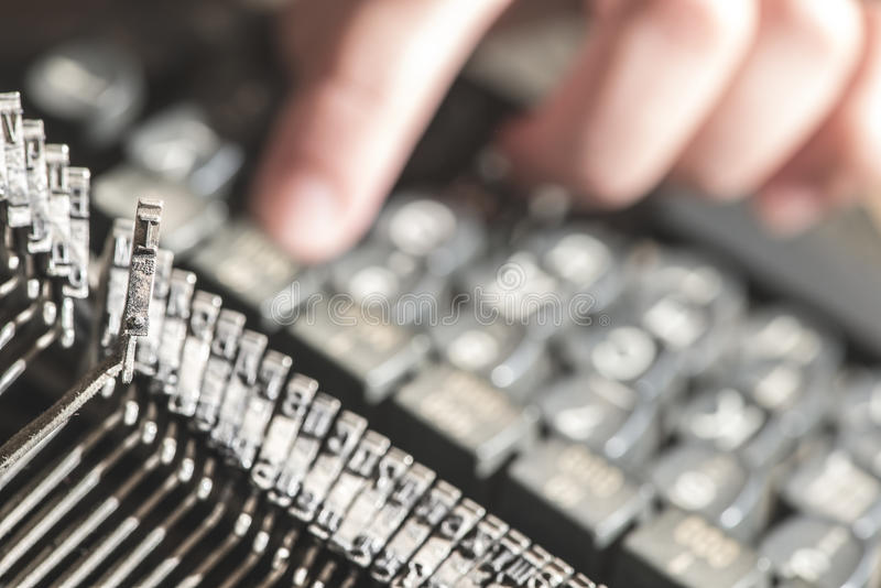 Plate letter I on a typewriter. Close up royalty free stock photography