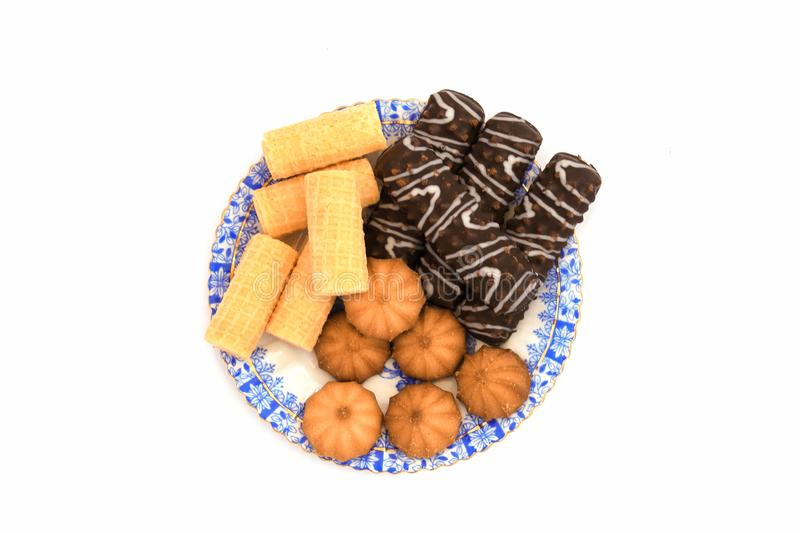 A plate of little cookies royalty free stock images