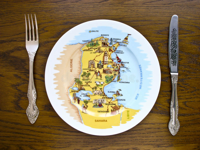 Plate with a map stock image