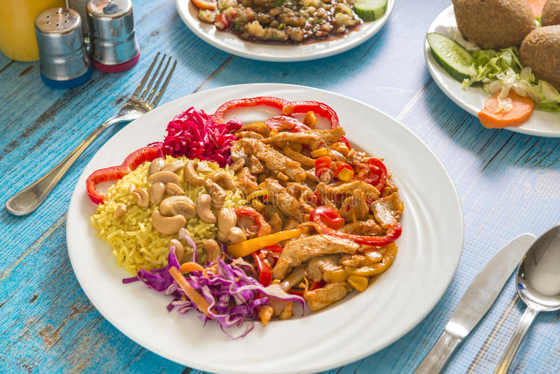 A Plate of Mexican Chicken Meal stock photos