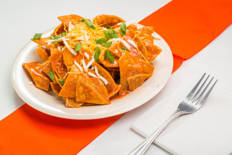 Mexican Chilaquiles or tortilla chips royalty free stock photo