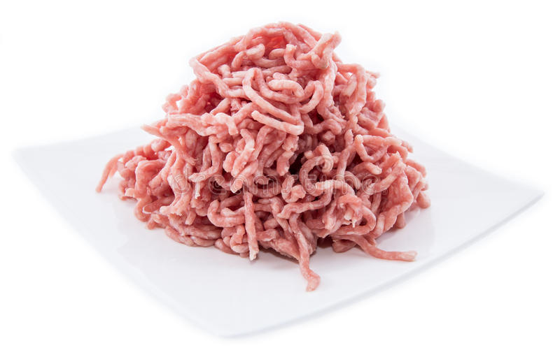 Plate with Minced Meat on white stock image