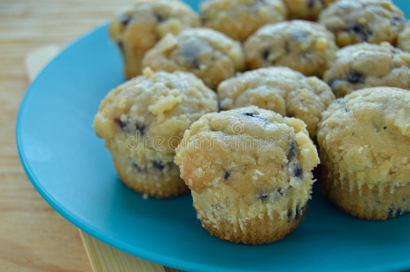 Plate of mini blueberry muffins. stock photo