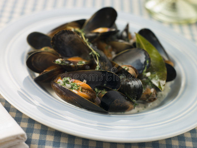 Plate of Moules Mariniere royalty free stock image