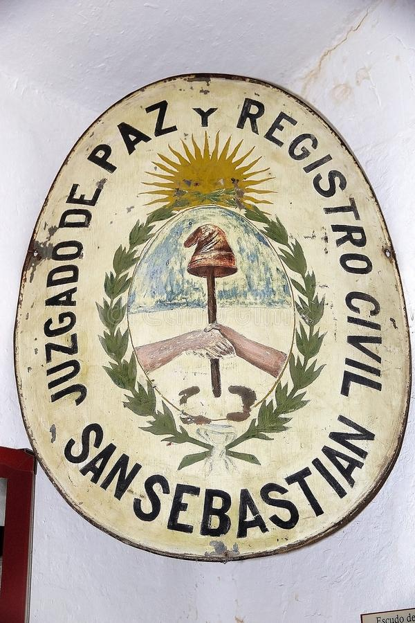 Maritime, Prison and Antarctic Museum in Ushuaia, Argentina. Plate at the Museo Maritimo y del Presidio de Ushuaia, Argentina. Maritime, Prison and Antarctic stock photography