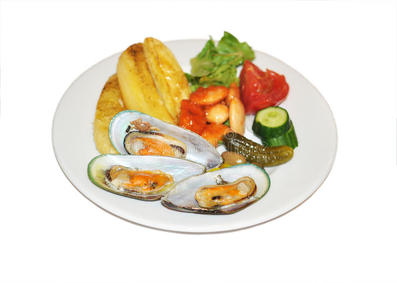Download Plate with mussels stock image. Image of tomato, potato - 33558379