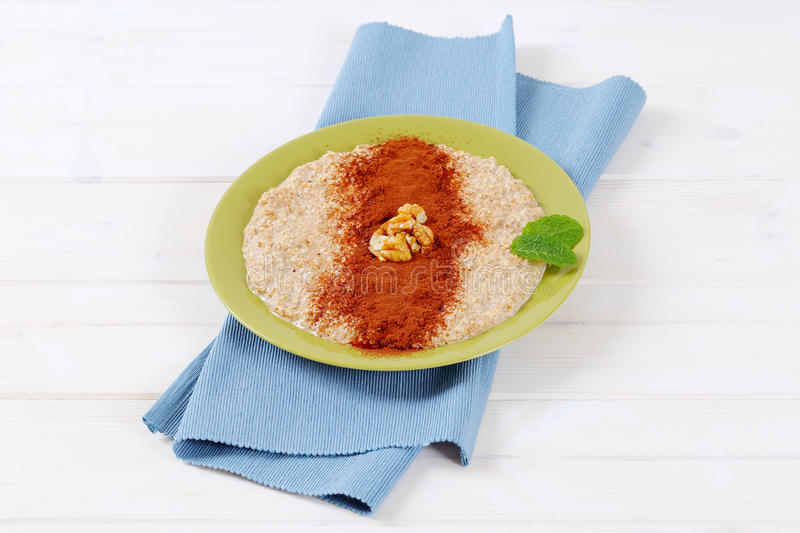 Download Plate of oatmeal porridge stock image. Image of cooked - 83707023