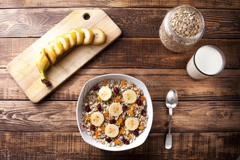 A plate with oats royalty free stock image