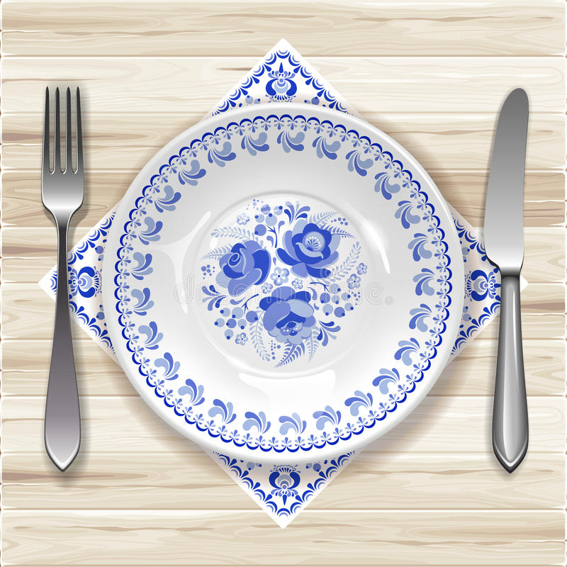 Plate with ornament stock illustration