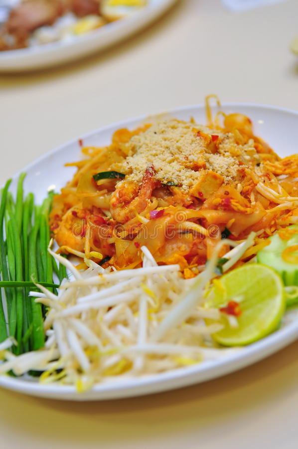 Plate of Pad Thai. Thailand's national dish - fried rice noodle, Pad Thai stock image