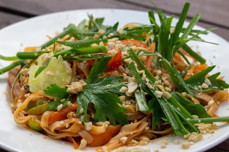 Plate of Pad Thai royalty free stock photos
