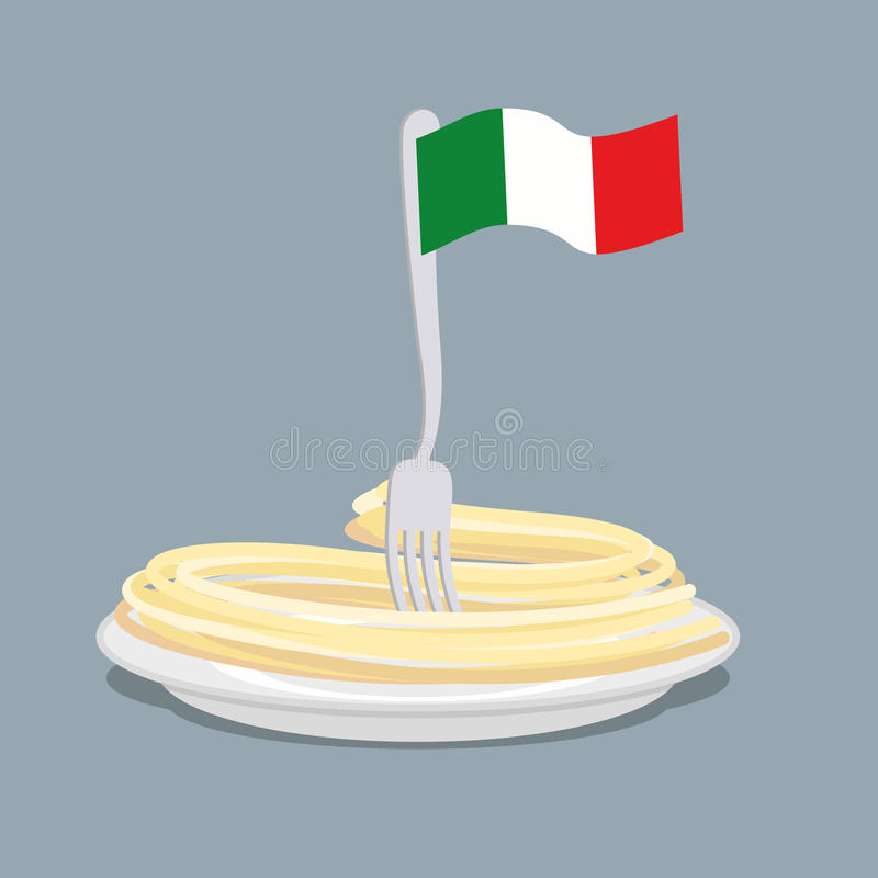 Plate of pasta with flag of Italy. Spaghetti with a fork. Vector vector illustration