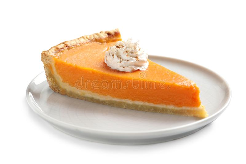 Plate with piece of fresh delicious homemade pumpkin pie stock photos
