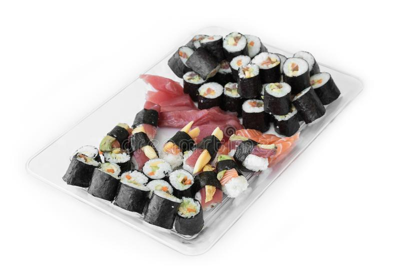 Plate with pile of sushi fresh maki rolls, isolated on white royalty free stock photo