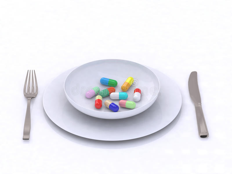 Download Plate with pills stock illustration. Illustration of help - 17124102