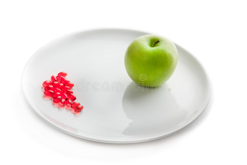 A plate with pills and green apple