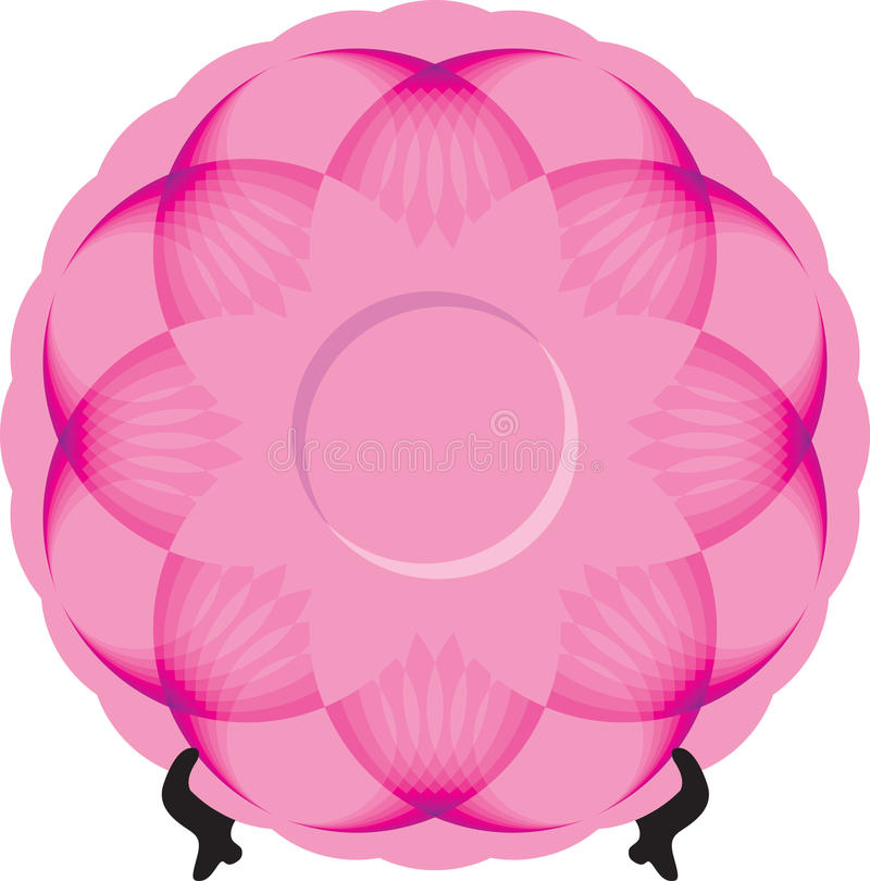 Plate with pink ornament on stand stock image