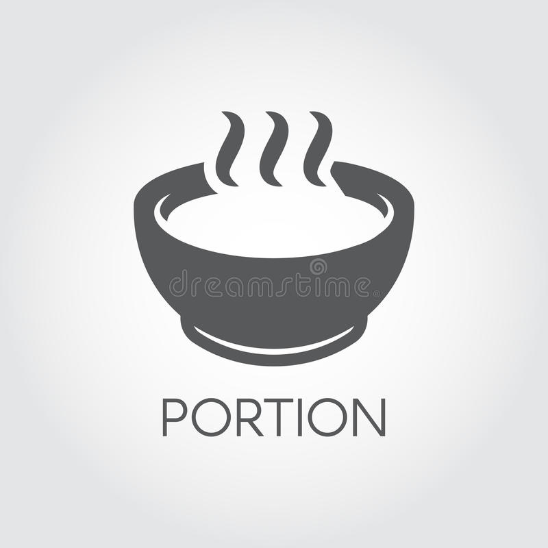 Plate with portion of hot food. Soup, chowder, broth and other dishes concept. Flat Icon for breakfast, lunch or dinner vector illustration