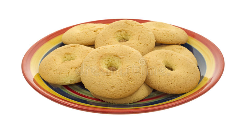 Plate of Portuguese biscoitos hard biscuits royalty free stock photo