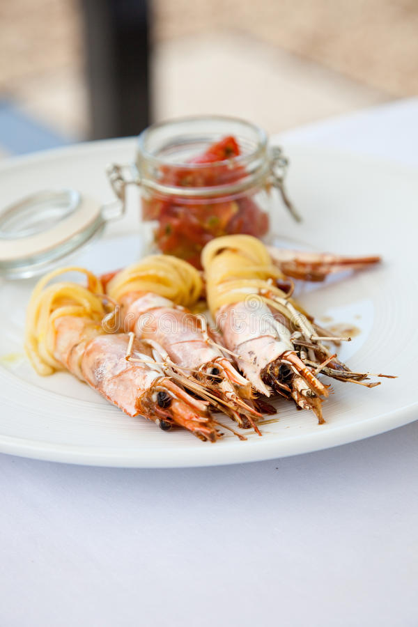 Plate of prawns stock images