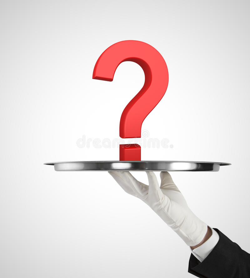 Plate with question mark. Human hand holding silver plate with red question mark stock image