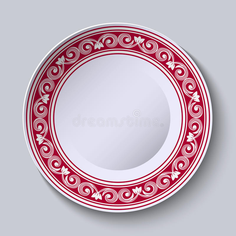 Plate With Red Ornamental Border. Design Template In Ethnic Style ...