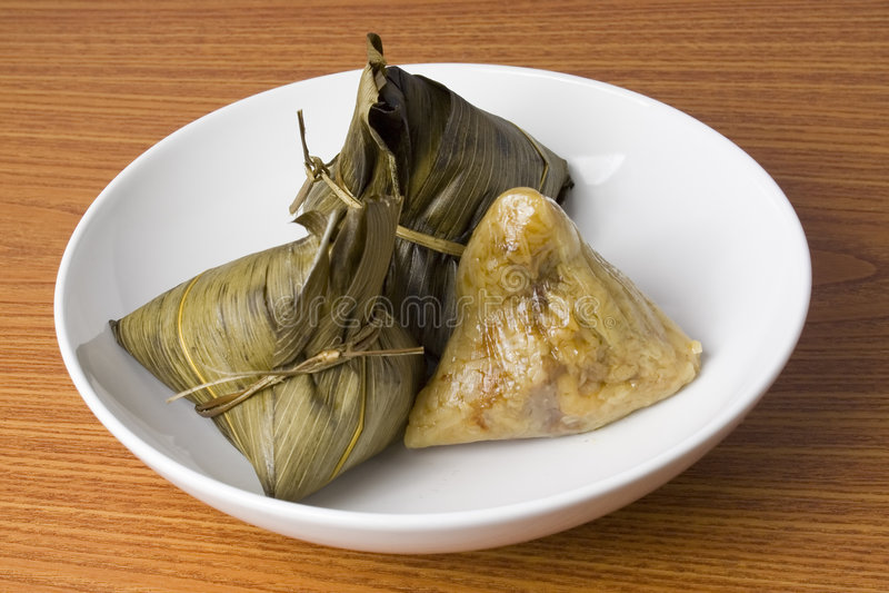 Plate of rice dumplings royalty free stock image