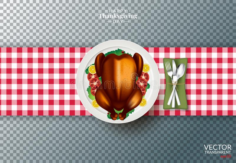 Plate with roasted turkey on transparent background stock illustration