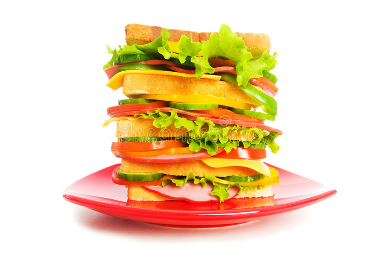 Download Plate With Sandwich Isolated Stock Image - Image: 9038641