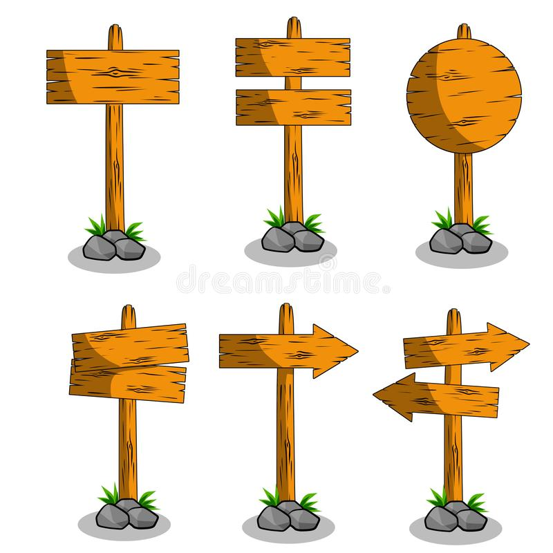 Cartoon flat illustration - set of wooden road direction sign. vector illustration