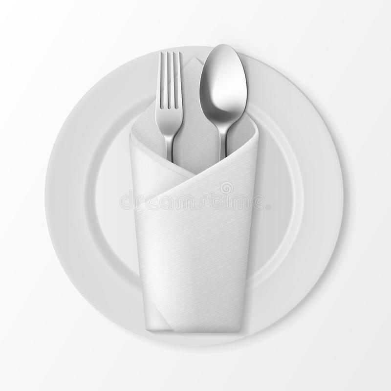 Plate With Silver Fork And Spoon. Table Setting Stock Vector ...