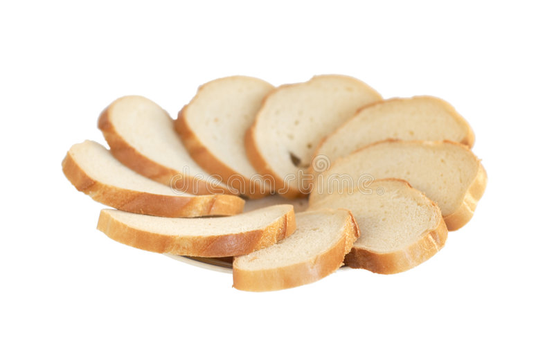 Plate of slices of a white loaf stock photo
