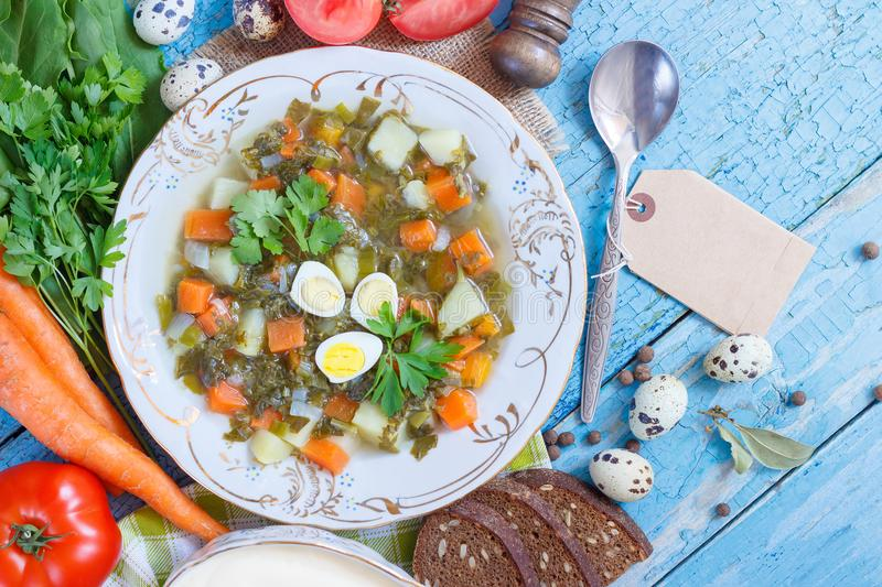 Plate with sorrel soup, bread and different vegetables. Top view royalty free stock photos
