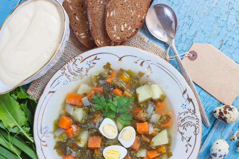 Plate with sorrel soup, bread and different vegetables. Top view stock photography