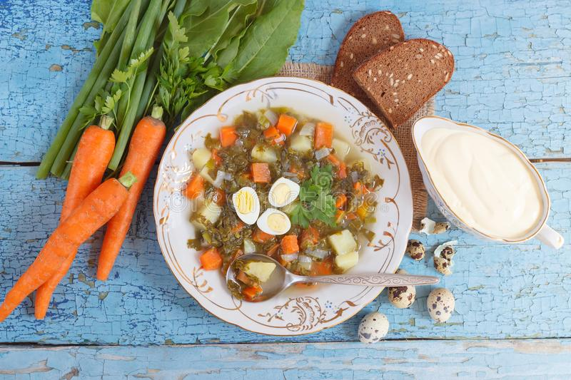 Plate with sorrel soup, bread and different vegetables. Top view royalty free stock image