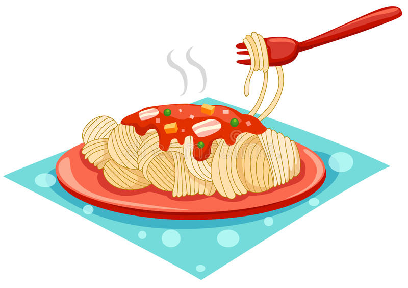 A plate of spaghetti with fork stock illustration