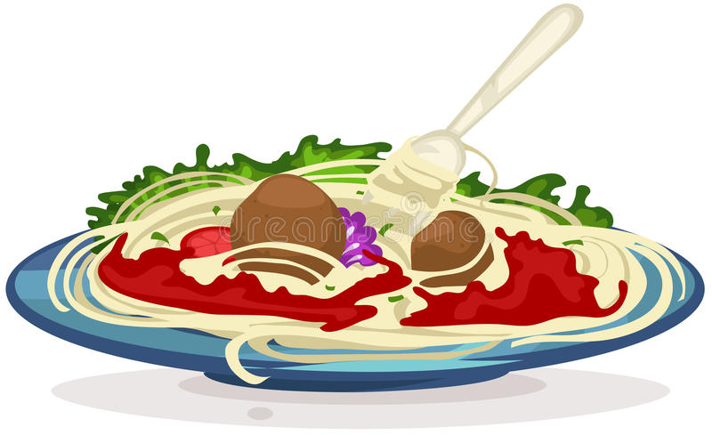 A plate of spaghetti with fork royalty free illustration