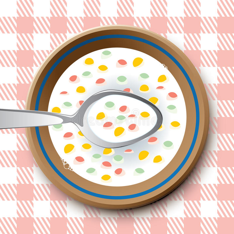 Plate with spoon and flakes