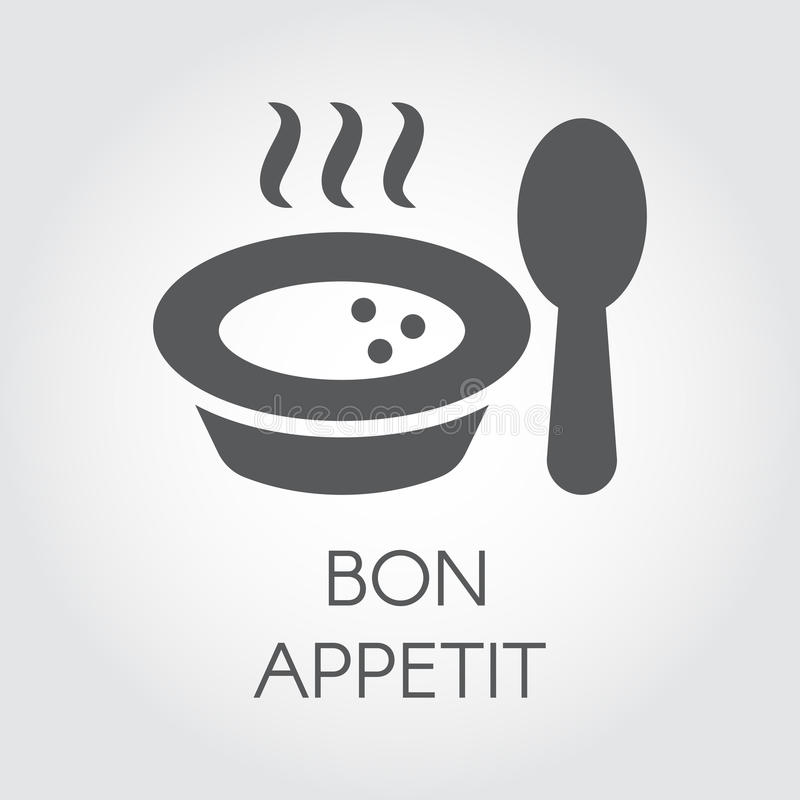 Plate with spoon flat icon. Portion of hot food with steam and wish bon appetit. Label for culinary design needs vector illustration