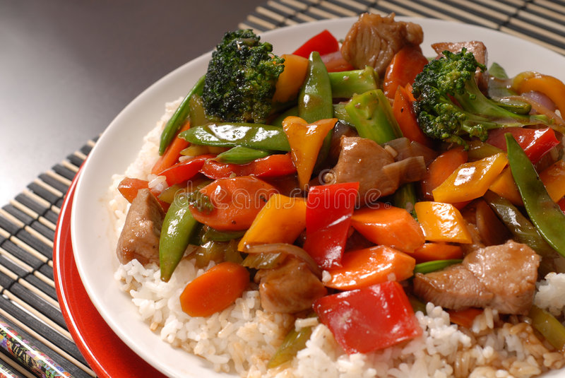 Plate of stir fry pork. A close up of a plate of stir fry pork with vegetables royalty free stock photography